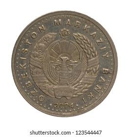 Uzbekistan som coin isolated on white