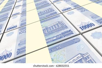 Uzbekistan sums bills stacks background. 3D illustration.
