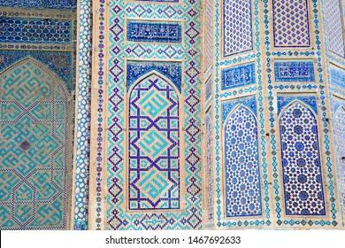 Uzbekistan. Typical blue islamic  decorations of madrassah in Registan Square