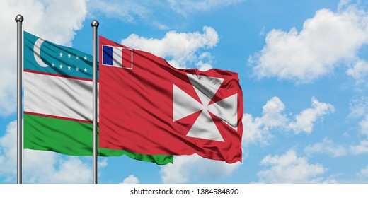 Uzbekistan and Wallis And Futuna flag waving in the wind against white cloudy blue sky together. Diplomacy concept, international relations.