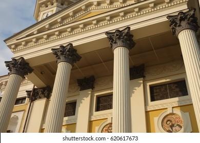 UZHGOROD, UKRAINE - April 03, 2017: Elements of decor and architecture. Greek Catholic Cathedral of the Exaltation of the Holy Cross in Uzhhorod, Transcarpathia, Ukrainen