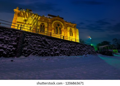Uzhgorod, Ukraine - DEC 26, 2016: Philharmonic Orchestra Concert Hall in winter at dawn. former building of synagogue is a popular tourist attraction.