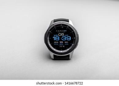 Uzhgorod, Ukraine - June 05, 2019: Smart watch Samsung Galaxy Watch on a gray background. The Samsung Galaxy Watch is a smartwatch developed by Samsung Electronics.