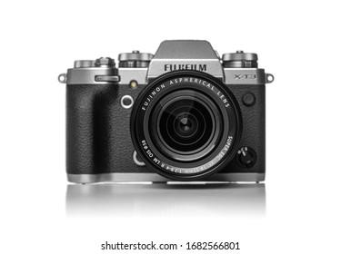 Uzhgorod, Ukraine - March 25, 2020: The Fujifilm X-T3 on white background. The Fujifilm X-T3 is a weather-resistant mirrorless interchangeable-lens camera.