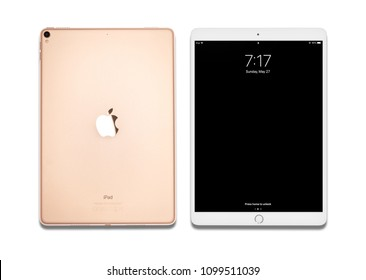 Uzhgorod, Ukraine - May 27, 2018: Ipad pro 10.5 inches isolated on white background. The iPad Pro family is a line of iPad tablet computers designed, developed, and marketed by Apple Inc..