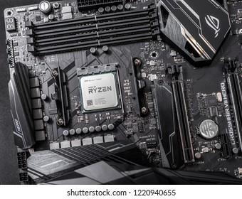 UZHGOROD, UKRAINE - October 25, 2018: Processor Ryzen 7 2700X against the background of a computer motherboard Asus rog crosshair vii hero.