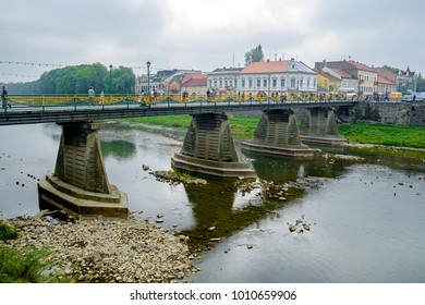 Uzhgorod, Ukraine - September 18, 2016: Bridge over the river Uzh in Uzhhorod