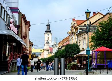 Uzhgorod, Ukraine - September 18, 2016: Central street in Uzhhorod