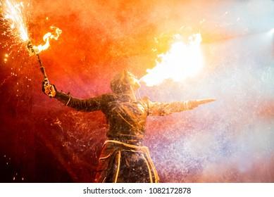Uzhhorod, Ukraine - April 30, 2018: Festival of Fire. man breathes fire
