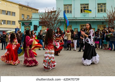 Uzhhorod, Ukraine - April 7, 2017: Participants in the celebration of the International Roma Day perform Romany folk dances in the city center.