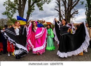 Uzhhorod, Ukraine - April 7, 2017: Participants in the celebration of the International Roma Day perform Romany folk dances in the city center.