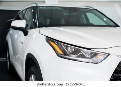 Uzhhorod, Ukraine. January 2021 white car of the Japanese brand Toyota Highlander. SUV, crossover. Reliable and beautiful car. The car in the cabin.
