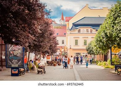 Uzhhorod, Ukraine - July 2, 2017: Uzhhorod street