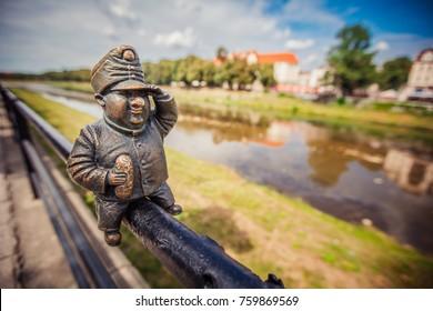 Uzhhorod, Ukraine - July 2, 2017: Good Soldier Svejk mini sculpture