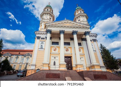 Uzhhorod, Ukraine - July 2, 2017: Holy Cross Cathedral in Uzhhorod