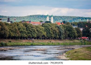 Uzhhorod, Ukraine - July 2, 2017: Uzh river embankment