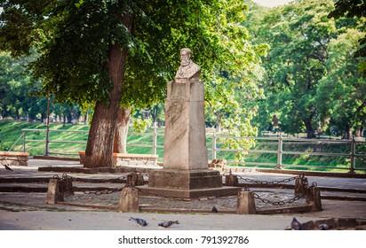 Uzhhorod, Ukraine - July 2, 2017: Monument to Yevhen Fentsyk (Eugen Fenczik )