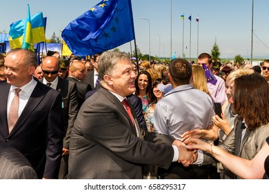 Uzhhorod, Ukraine - June 11, 2017: Ukrainian President Petro Poroshenko communicates with residents after a symbolic ceremony on the occasion of the introduction of a visa-free regime for Ukraine.