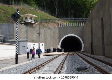 Uzhhorod, Ukraine - May 24 , 2018: beskydsky tunnels. tunnel opening trains