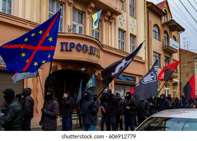 Uzhhorod, western Ukraine -  March 18, 2017: Activists of the Black March of the Glory of the Heroes of Carpathian Ukraine walk through the streets of Uzhhorod.