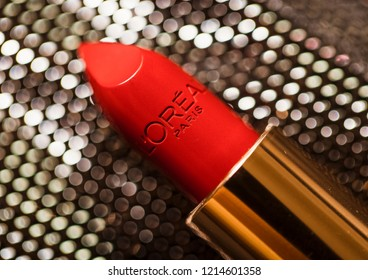 UZHOROD, UKRAINE - May 25, 2018: L'Oreal Paris Lipstick. LOreal is world leader in beauty products. Studio shot