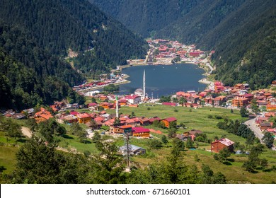 Uzungol(Long Lake):One of the most beautiful tourist places in Turkey.The mountain valley with a trout lake and a small village in Trabzon,Turkey.Popular summer destination for locals and tourists.