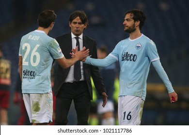 v 05/02/2018. Stadio Olimpico, Rome, Italy. Serie A. Lazio vs Genoa.Simone Inzaghi  in action during the match Lazio vs Genoa at Stadio Olimpico in Rome.
