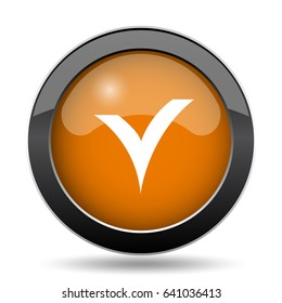 V checked icon. V checked website button on white background.