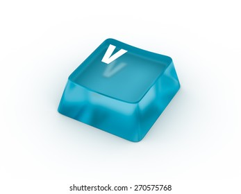 V Letter on transparent blue keyboard button