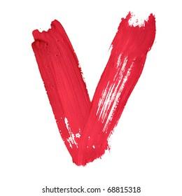 V - Red handwritten letters over white background