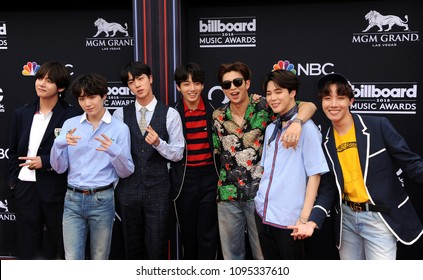 V, SUGA, Jin, Jung Kook, RM, Jimin and j-hope of BTS at the 2018 Billboard Music Awards held at the MGM Grand Garden Arena in Las Vegas, USA on May 20, 2018.