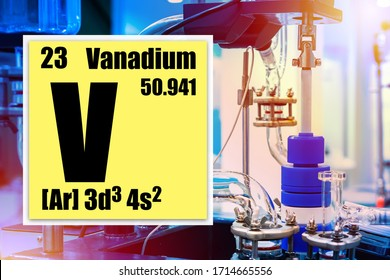 V. Vanadium logo in the yellow box. Equipment for chemical experiments. Concept - use of metal vanadium production. Periodic table element. Inscription vanadium on the background of the laboratory