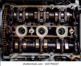 V6 engine head with camshafts and oil