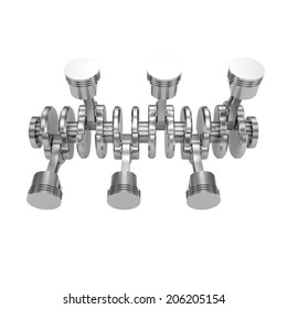 V6 engine pistons isolated on white