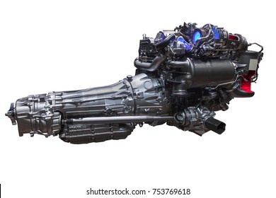 V8 engine with a modern automatic transmission isolated over white background