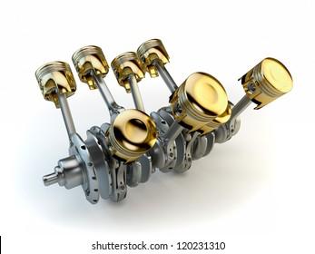 V8 engine pistons on crankshaft