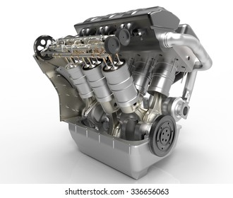 V8 turbo Car Engine on white  background. High resolution 3d
