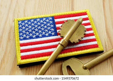 VA Home loan and mortgage. American flag and key.