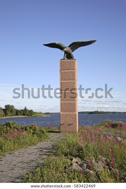 VAASA. FINLAND. 17 JUIY 2008 : Monument to Finnish aviators in Vaasa. Finland