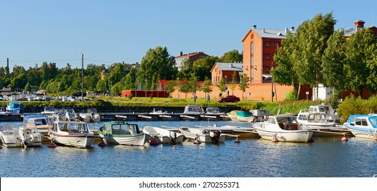 VAASA, FINLAND - JULY 17,2013:Official guest harbour with yachts near prison in Vaasa. Prison is still in use (though extensivly modernized on inside) and has shop which sells crafts made by prisoners