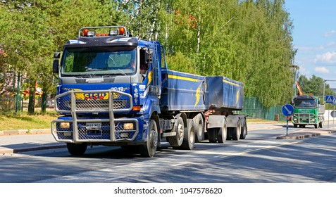 VAASA, FINLAND - JULY 5, 2012: Trucks on roads