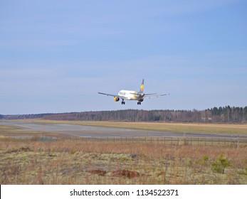 VAASA, FINLAND - MAY 06 2018: Thomas Cook Airbus A321-211 landing at Vaasa airport, Finland.