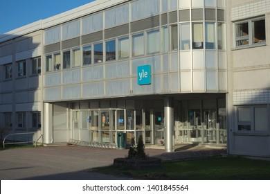 Vaasa / Finland - May 18 2019: Entrance to Yle Radio building in Vaasa