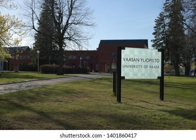 Vaasa / Finland - May 18 2019: University of Vaasa sign on premises of the campus