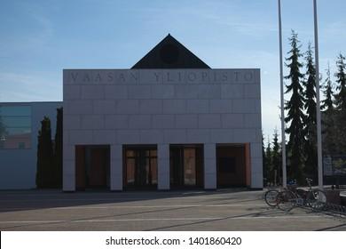 Vaasa / Finland - May 18 2019: Entrance to main building of University of Vaasa