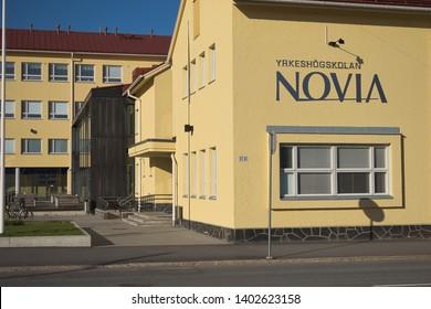 Vaasa / Finland - May 18 2019: Alere building with Novia sign