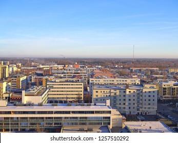 VAASA, FINLAND - NOVEMBER 19, 2018: Aerial view over Finnish coastal town Vaasa