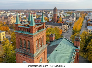 Vaasa, Finland - October 13, 2018: Holy Trinity Church and center of Vaasa photographed with drone