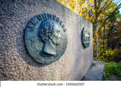 Vaasa, Finland - October 14, 2018: Monument for J.KRuneberg at Old Vaasa
