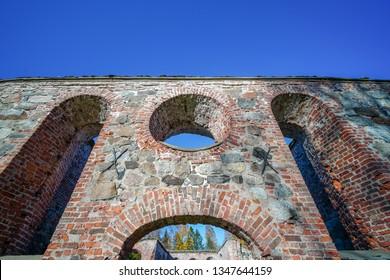 Vaasa, Finland - October 14, 2018: Ruins of old church at public park at Vanha Vaasa that burned long time ago